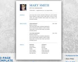 personal resume template resume template word etsy