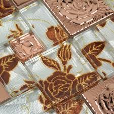 Gold Items Crystal Glass Mosaic Tile Wall Backsplashes by Metallic Mosaic Tile Sheet Copper Rose Pattern Mosaic Hc 142
