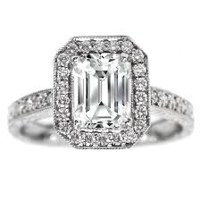 vintage emerald cut engagement rings engagement ring emerald cut diamond halo engagement ring vintage