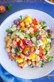 pasta slad loaded greek chickpea pasta salad she likes food