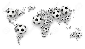 Black And White World Map Black And White Soccer Balls Arranged As A World Map On White