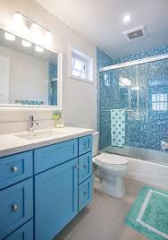 Blue Glass Tile Bathroom - blue mosaic tile bathroom contemporary with white elephant stool