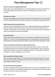 time management tips worksheet therapist aid