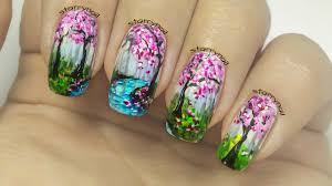 cherry trees freehand nail art youtube