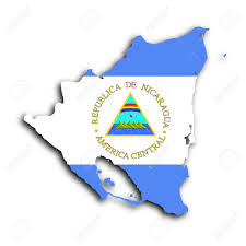 Flag Nicaragua Map Of Nicaragua Filled With The National Flag Stock Photo
