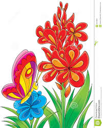 colorful butterfly on flower clipart clipartxtras