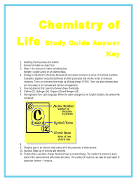 chemistry of life study guide answer key properties of water