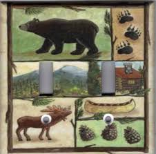 cabin bear moose home wall decor double light switch plate cover