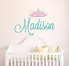Wall Decal Letters For Nursery Wall Decal Letters Custom Tiara Name Wall Decal Baby