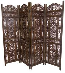 folding screen room divider image 4 panel heavy duty carved indian wooden bells design