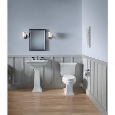 bathroom grey wall design ideas with wooden flooring plus kohler