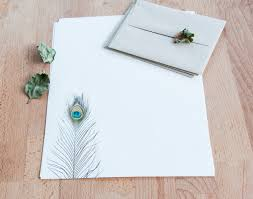 peacock feather letter writing set letter set gift for her