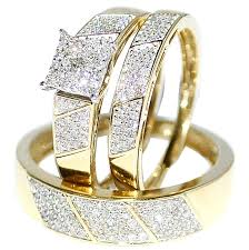 wedding ring sets his and hers cheap his wedding rings set trio 10k yellow