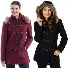alpine swiss duffy women s hooded parka fur trim wool coat toggle