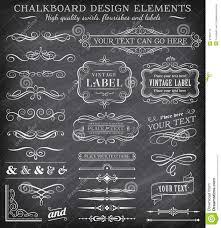 vector vintage chalkboard labels and ornaments stock illustration