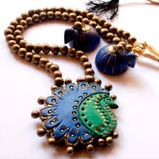 bead necklace with pendant images Peacock pendant bead necklace with jhumkas jpg
