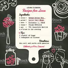 id de recette de cuisine une fiche recette pour invitation de mariage créatif design concept