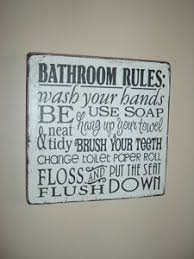 Vintage Bathroom Sign Shabby Vintage Chic Plaque Bathroom Rules Sign Typography Toilet