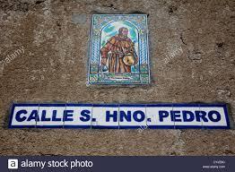ornamental signs for calle hno pedro in antigua stock
