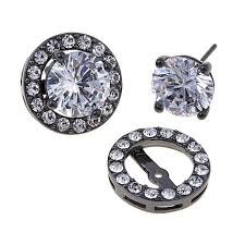 jacket earrings joan boyce don t forget your jacket cz and stud earrings