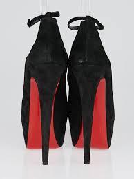 christian louboutin black suede platform ankle strap heels 11 5 42