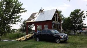 Barn Roof by Putting Up Barn Metal Roof Youtube