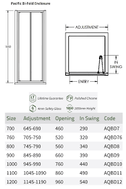 lauren pacific 760 x 1850mm bi fold shower door