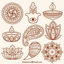 collection of abstract shapes and diwali ornamental candles vector