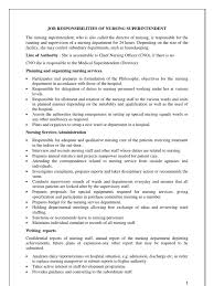 Superintendent Resume Job Responsibilities Of Nursing Superintendent Nursing Hospital