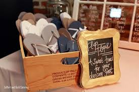 chagne wedding favors flip flops for guests to change into for wedding