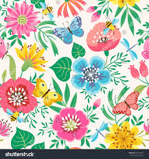 bright floral seamless pattern flowers butterflies stock vector