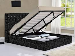 Ottoman Bed Black Drogo Black Crushed Velvet Glitz Fabric Ottoman Bed Frame