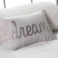 throw pillows for bed decorating thro by marlo lorenz dream sequin script faux linen pillow from