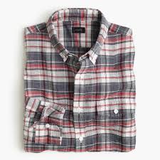 end on end irish cotton linen shirt in plaid men linen j crew