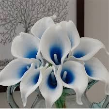 Calla Lily Bouquets Aliexpress Com Buy Real Touch Picasso Blue Calla Lilies Bouquet