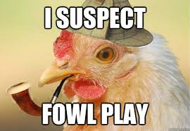 Funny Chicken Memes - i suspect fowl play chicken detective quickmeme