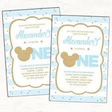 mickey mouse first birthday invitation blue gold party supplies