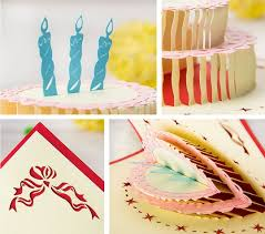 selling 5pcs lot 3d pop up greeting card birthday cake design