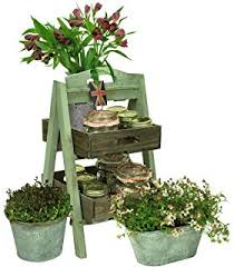 rustic wooden 2 tier plant stand display step shop stall shabby