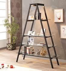 Ladder Bookcase Black by Furniture Modern Black Ladder Bookshelf With Wooden Floor And