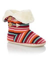 womens boots tu womens multicoloured stripe toggle slipper boots tu clothing
