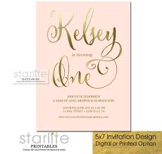 fancy invitations blush pink gold 1st birthday invitation fancy script