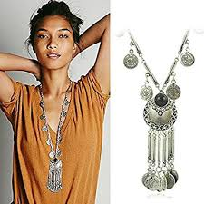 long boho necklace images Zhenhui ethnic tribal boho beads coin fringe necklace jpg