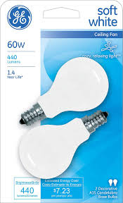 ceiling fan light bulbs ge soft white 71396 60 watt 440 lumen a15 light bulb with