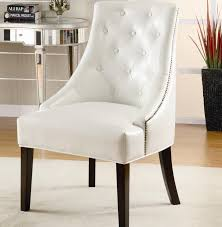 White Accent Chair Accent Chair Upholstered In White Bonded Leather With Nail