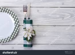 plate table top spring table setting plate cutlery decorated stock photo royalty