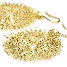 gold disc earrings gold filled sunflower wire crochet earrings yooladesign