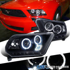 mustang projector headlights 10 14 ford mustang black led drl dual halo projector headlights ebay