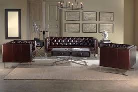 Leather Button Sofa 5pc Brown Boned Leather Button Tufted Living Room Sofa Set