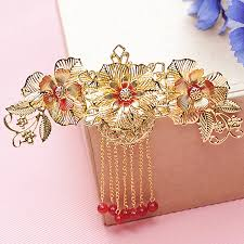 headdress and gold tassels classical wedding